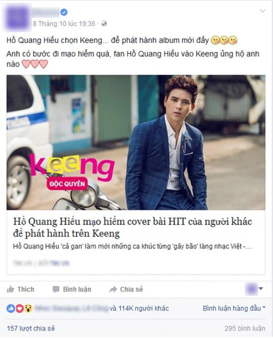 Phản ứng không ngờ của fan về album cover mới của Hồ Quang Hiếu trên Keeng - Ảnh 1.