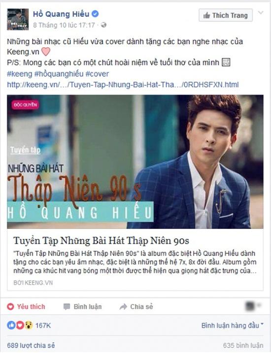 Phản ứng không ngờ của fan về album cover mới của Hồ Quang Hiếu trên Keeng - Ảnh 3.