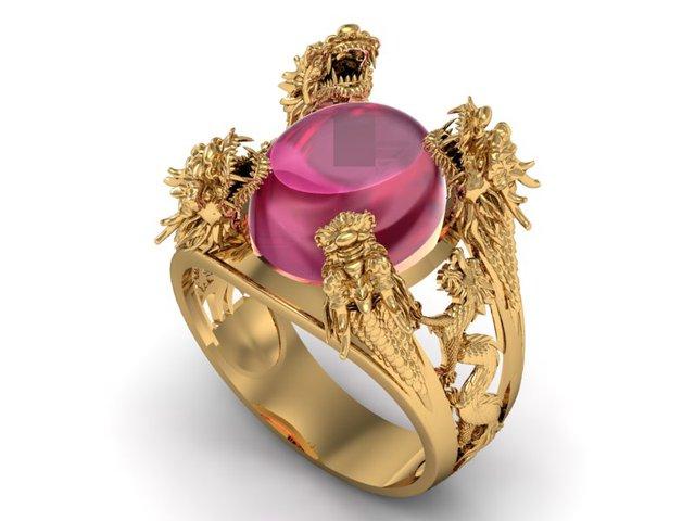 Nhẫn điêu khắc hình rồng và đá Ruby hồng phù hợp với những người mệnh Hỏa và đây là màu đá tương sinh cho mệnh Thổ