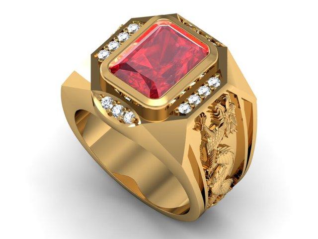 Lấp lánh thứ ánh sáng từ sao Hoả, Hồng ngọc có thể chữa lành bệnh tật nâng cao khả năng tập trung. Khi mang một chiếc nhẫn đính đá Ruby sẽ khiến bạn tự tin hơn và khẳng định được vị trí của bản thân khi kết hợp cùng phong thái đĩnh đạc của bạn