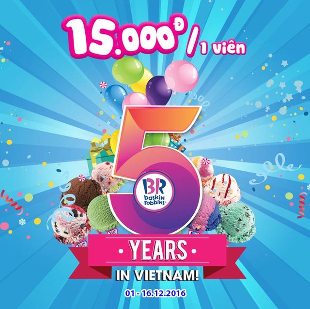 Tưng bừng mừng sinh nhật 5 năm Baskin Robbins với viên kem chỉ 15.000 đồng - Ảnh 1.
