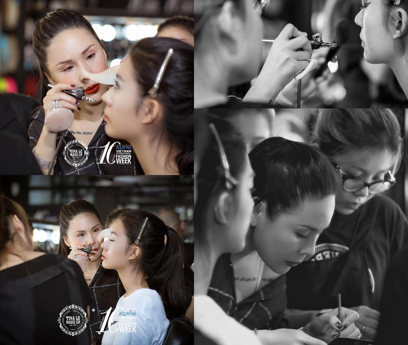 Công tác chuẩn bị của Tina Le make up trước thềm Aquafina Tuần lễ Thời trang Quốc tế Việt Nam - Ảnh 2.