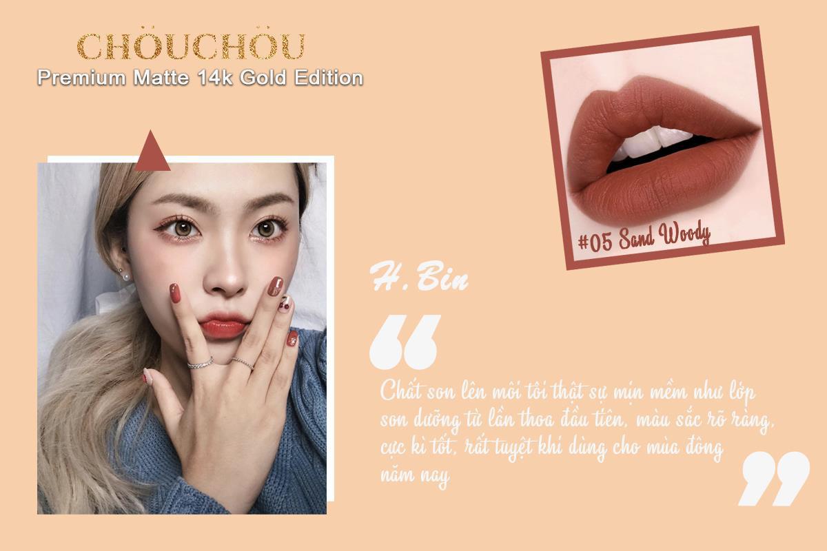 ChouChou ra mắt dòng son mạ vàng Premium Matte 14k Gold Edition chinh phục các beauty blogger khó tính - Ảnh 4.