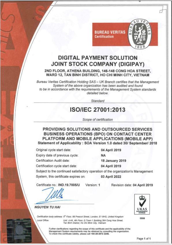 DigiPay - Công ty Fintech nhận chứng chỉ ISO về an ninh thông tin - Ảnh 1.