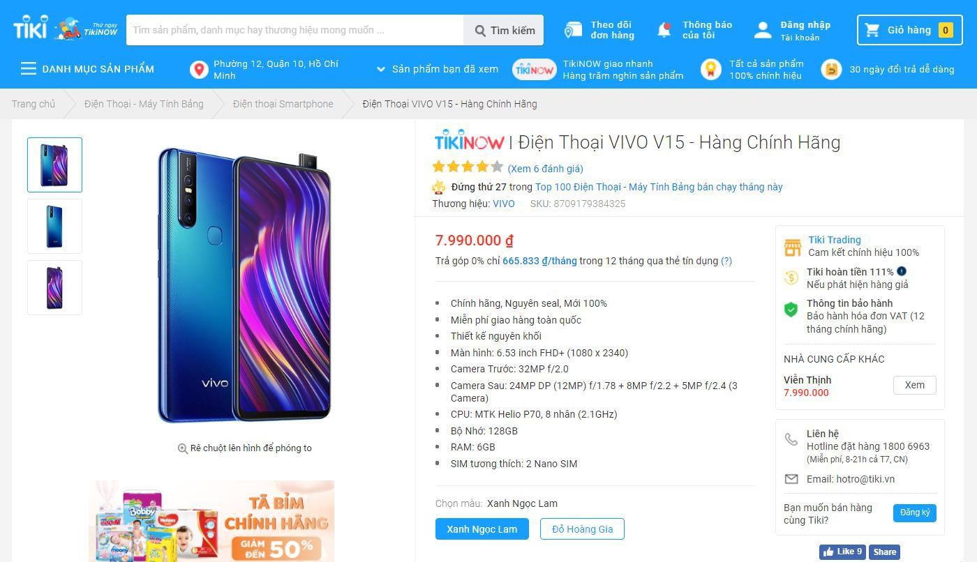 """Rinh ngay bộ quà """"khủng"""" hơn 2 triệu đồng khi mua Vivo V15 tại Tiki - Ảnh 2."""