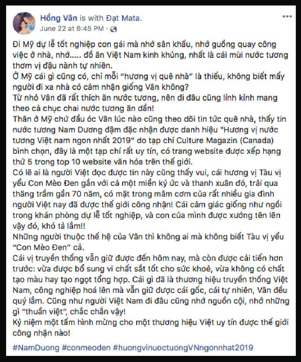 """Nghệ sĩ Việt đồng loạt chúc mừng Nam Dương đạt giải """"Hương vị nước tương Việt Nam ngon nhất"""" - Ảnh 1."""