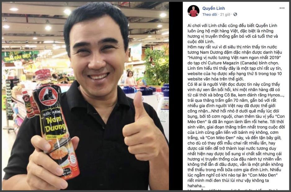 """Nghệ sĩ Việt đồng loạt chúc mừng Nam Dương đạt giải """"Hương vị nước tương Việt Nam ngon nhất"""" - Ảnh 3."""
