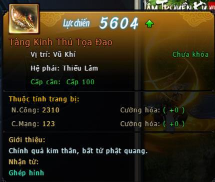 Trang bị Hoàng Kim level 60 - 100 của webgame Võ Lâm Truyền Kỳ VNG
