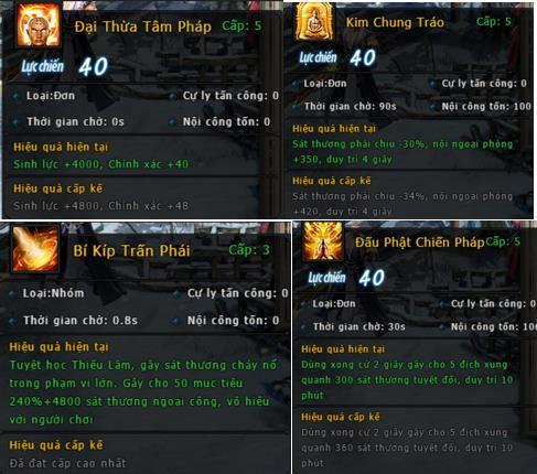 Cận mắt các thông số của kỹ năng phái Thiếu Lâm lừng danh