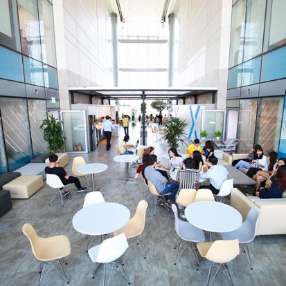 Sky Garden – là nơi các nhân viên được cung cấp cà phê miễn phí và giải trí nghỉ ngơi thư giãn với không gian thoáng đạt luôn tràn ngập ánh nắng, xanh mướt.