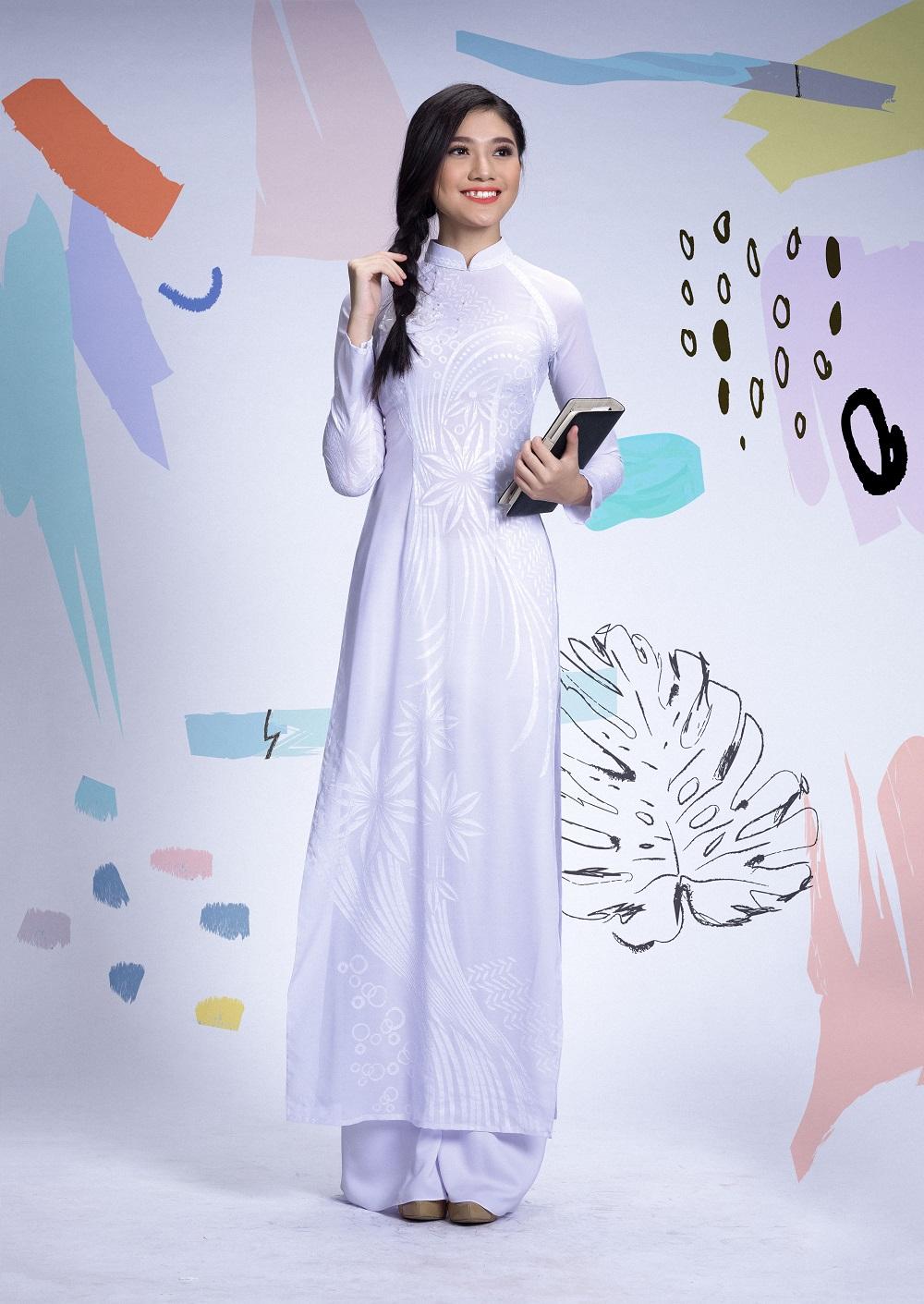 Đẹp tinh khôi với áo dài trắng lấy cảm hứng từ hội họa - Ảnh 6.