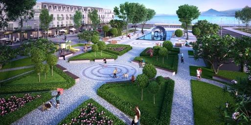 Quảng trường trung tâm có không gian thoáng mát cùng với nhiều tiện ích.