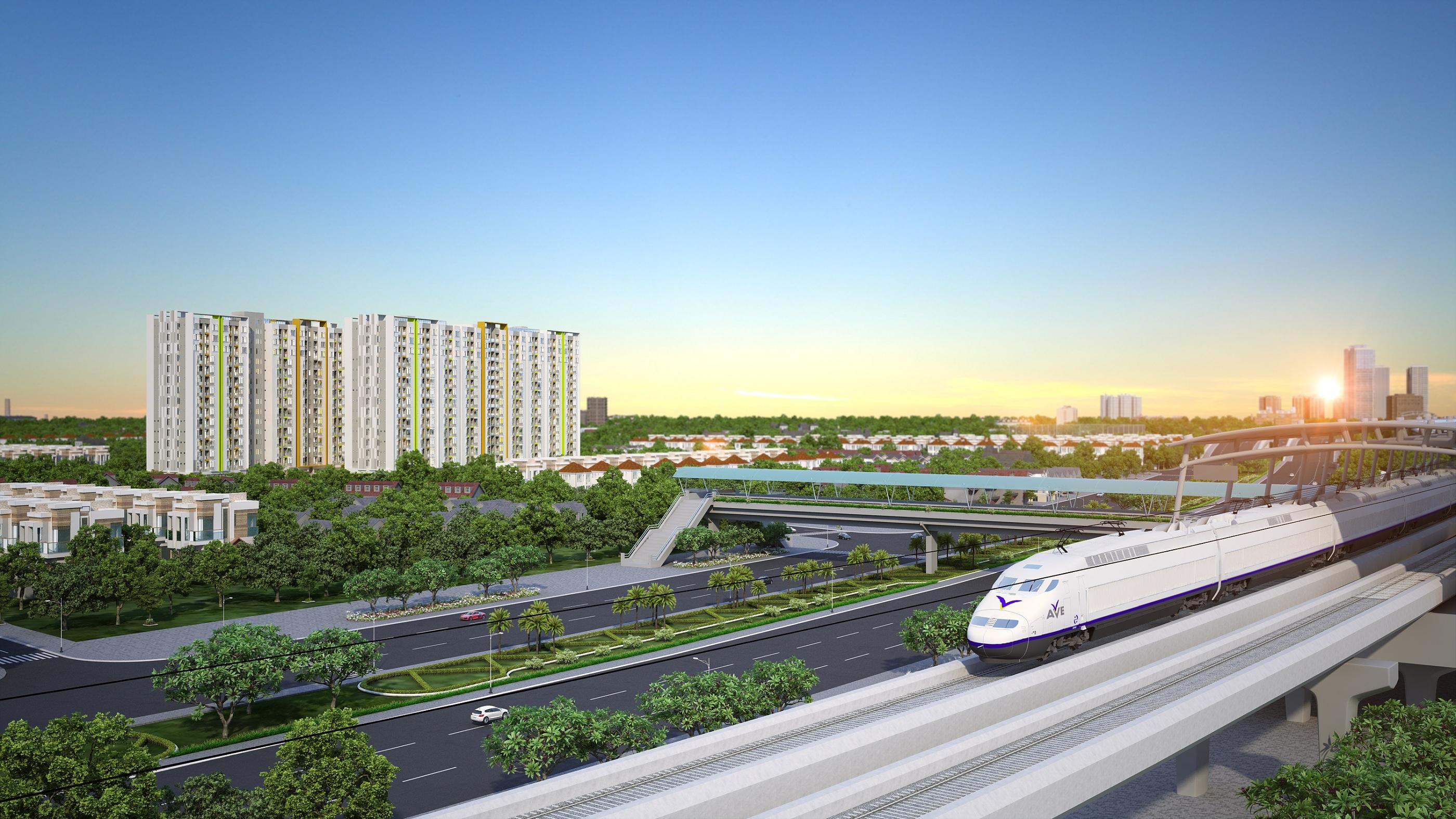 Him Lam Phú An nằm cách Ga số 9 tuyến Metro Bến Thành - Suối Tiên chỉ 3 phút đi bộ, nhưng giá bán vừa phải chỉ 1,65 - 1,85 tỷ đồng/2 Phòng ngủ.