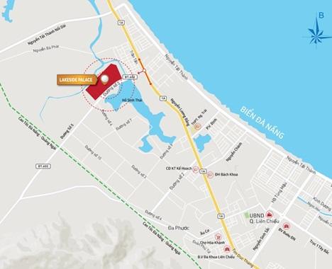 Sơ đồ vị trí Shophouse Lakeside Palace mặt hồ đầu tiên tại trung tâm Quận Liên Chiểu, TP Đà Nẵng.