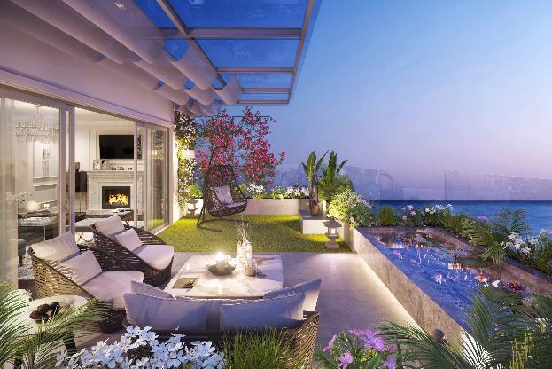 """Phối cảnh minh họa """"Vườn trên không"""" Sky Villa."""