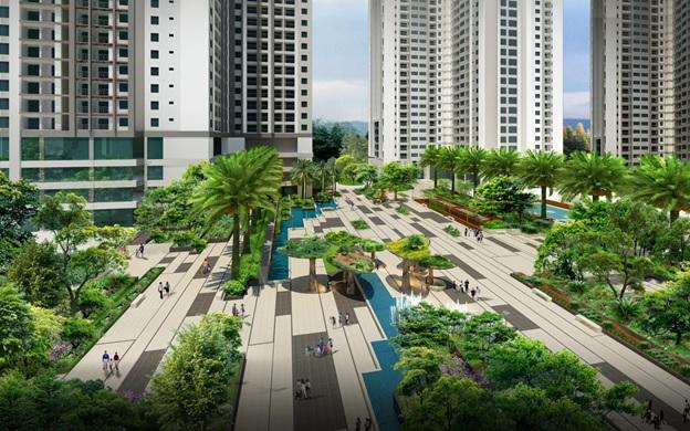"""""""Thành phố trong khu vườn"""" TNR Goldmark City giành tới hơn 70% diện tích cho cây xanh và cảnh quan."""