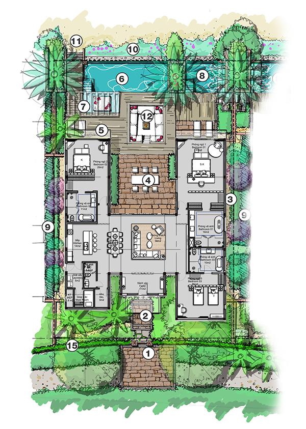 Tất cả các căn hộ Villas có sổ đỏ sở hữu lâu dài, được thiết kế bể bơi riêng biệt với đầy đủ tiện ích 5*+.