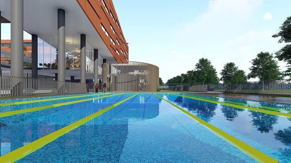 Hồ bơi hiện đại tại trường SNA Him Lam.
