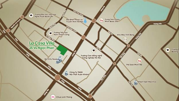 Bản đồ vị trí dự án La Casa Villa – 25 Vũ Ngọc Phan.