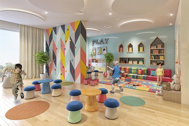 Trẻ em thoải mái chơi đùa tại khu vui chơi trẻ em trong nhà tại The Sapphire Residence.