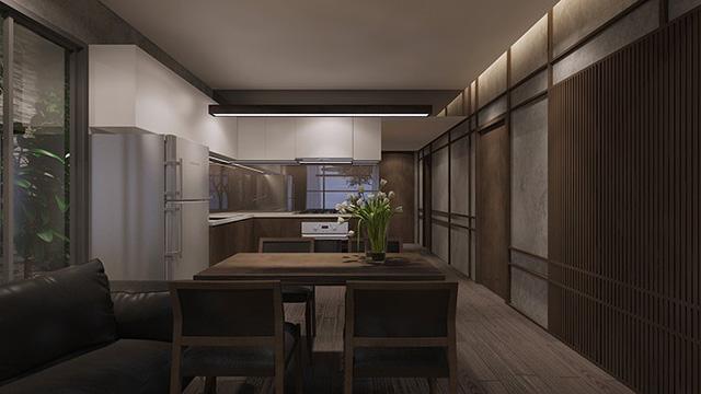 Không gian phòng khách, bếp và phòng ăn của căn hộ Flora Mizuki được thiết kế liên thông.