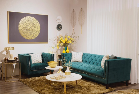 Phòng khách mới lạ với sắc màu theo xu hướng (ảnh nhaxinh.com).