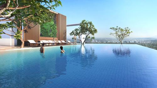 Hồ bơi nước ấm tràn bờ thiết kế hiện đại.