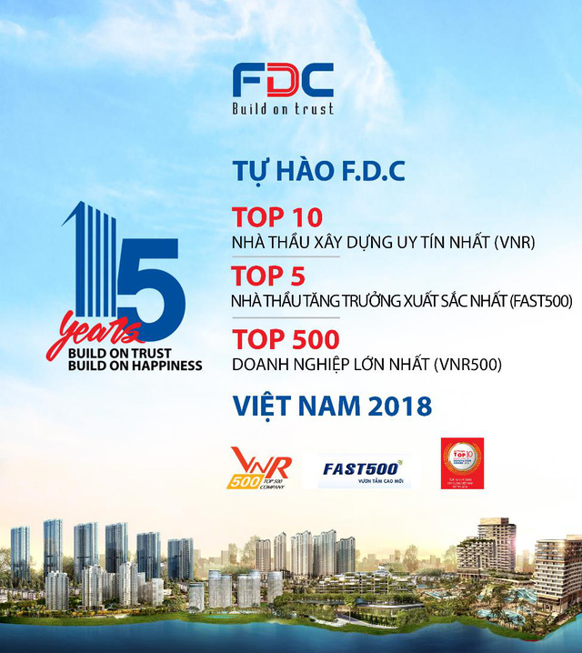 F.D.C tự hào nằm trong top 10 nhà thầu xây dựng uy tín năm 2018 – Bảng xếp hạng VNR - Ảnh 1.
