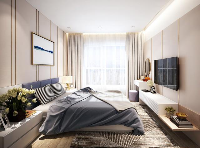 Căn hộ 2+1 được bố trí hai phòng ngủ kết hợp một phòng đa năng có thể thay đổi tùy nhu cầu của gia chủ.