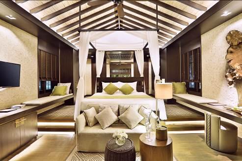Nội thất villa được sử dụng gỗ đá tự nhiên, tất cả tạo ra cảm giác sang trọng mà mộc mạc, ấm cúng.