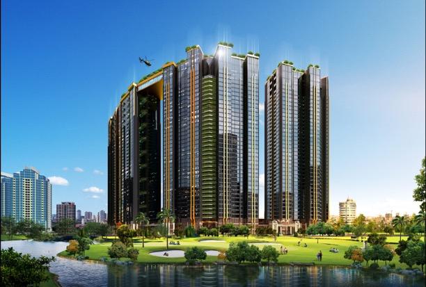 Thiết kế ấn tượng của dự án tầm cỡ Sunshine City, gồm khu liền hề và 6 tòa tháp căn hộ, tuyến đường nội khu và lõi cảnh quan đẹp mắt.