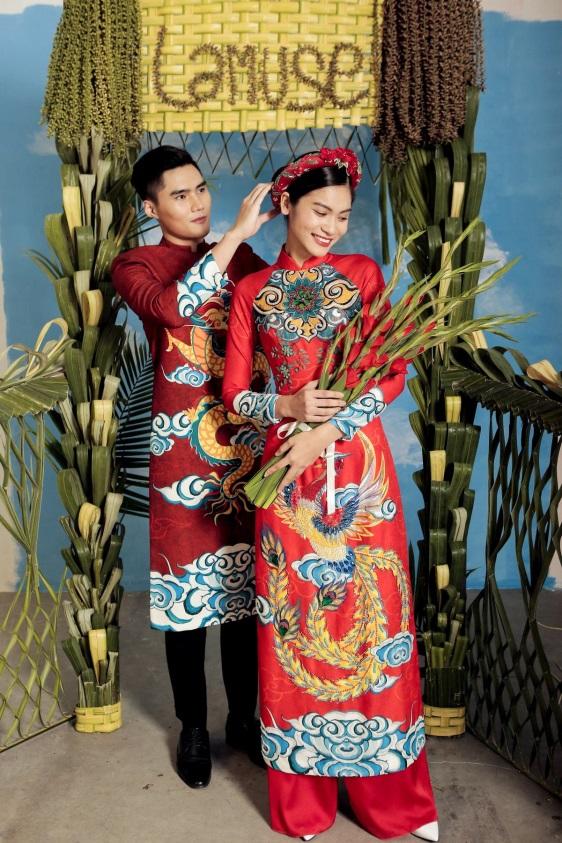 2 quán quân Next Top Model nổi bật với BST áo dài ngày cưới - Ảnh 1.