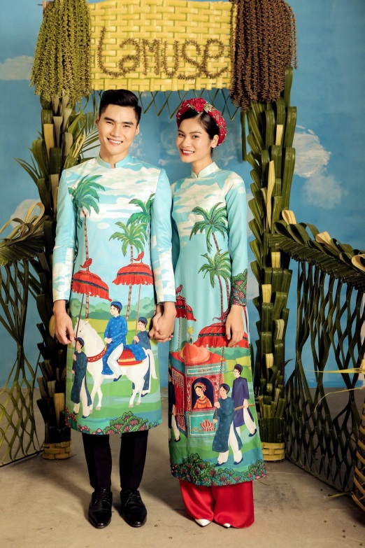 2 quán quân Next Top Model nổi bật với BST áo dài ngày cưới - Ảnh 3.