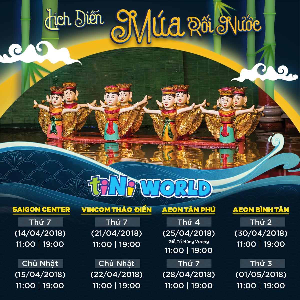 Múa rối nước được dàn dựng và trình diễn công phu tại trung tâm vui chơi