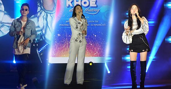 """Mỹ Tâm, JustaTee và Phương Ly cháy hết mìnhtrên sân khấu """"Sống Khỏe để yêu thương"""" - Ảnh 1."""