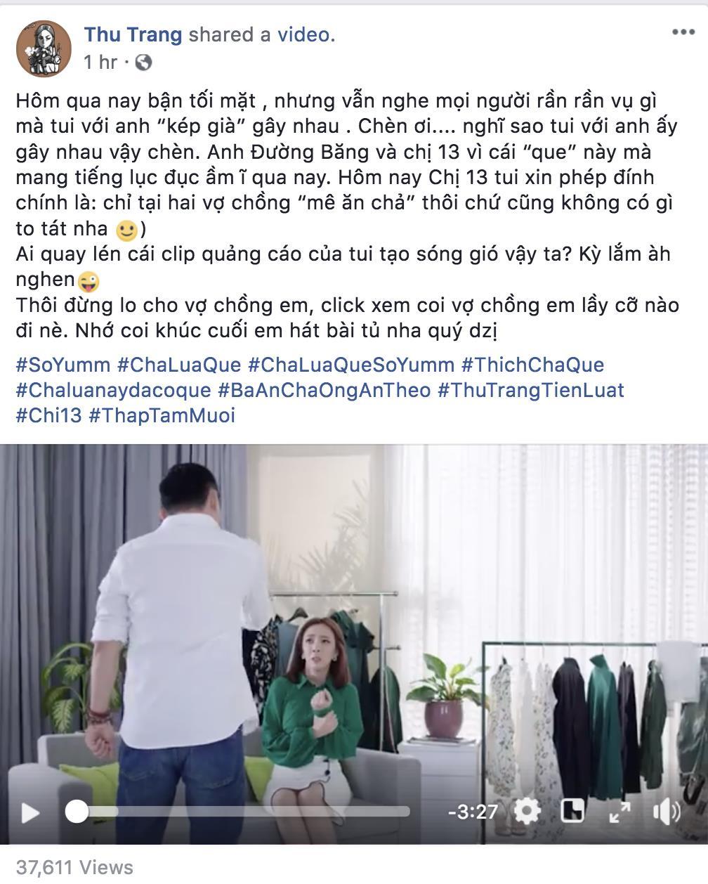Màn hình chụp facebook cá nhân của diễn viên hài Thu Trang