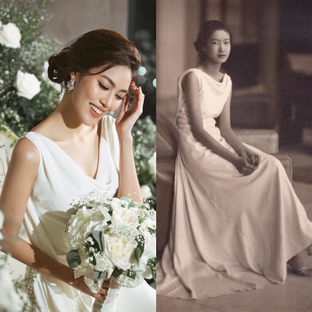 Váy cưới Lan Khuê trị giá 500 triệu có ý tưởng từ Nam Phương hoàng hậu - Ảnh 1.