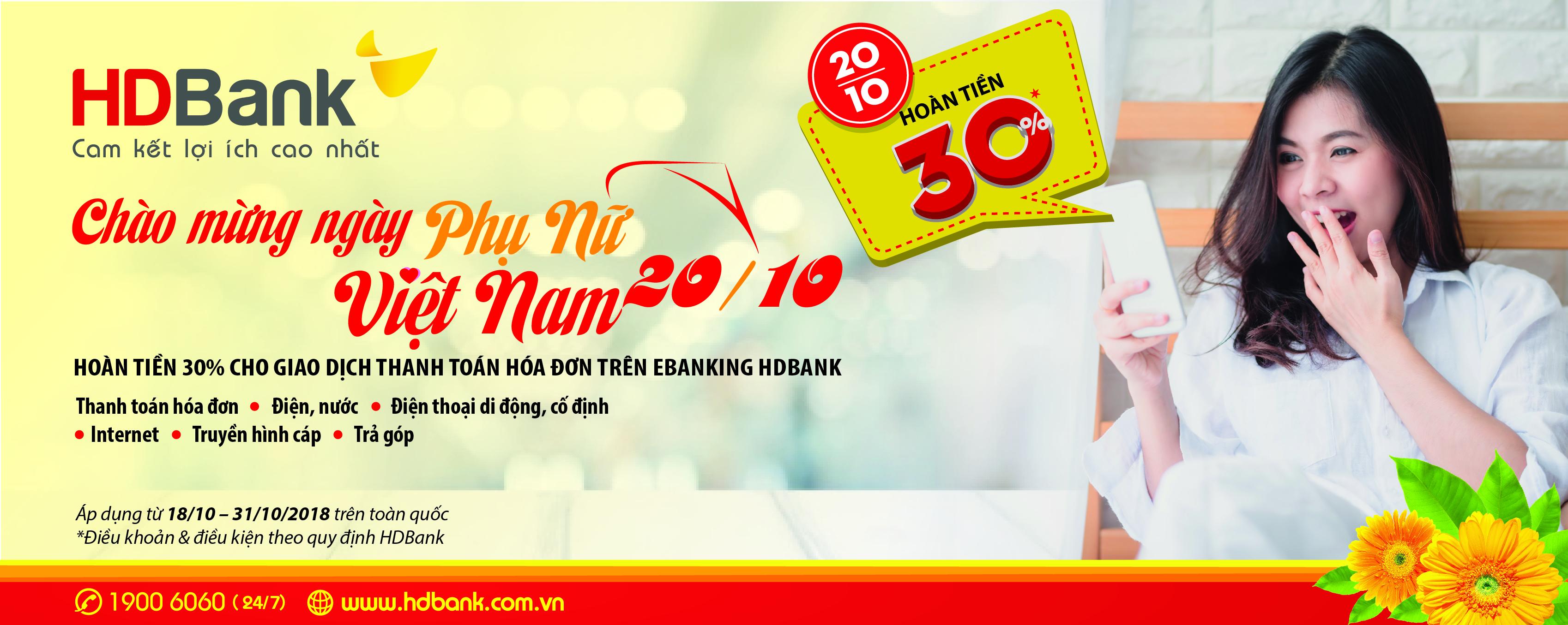 HDBank hoàn tiền 30% eBanking nhân ngày Phụ nữ Việt Nam - Ảnh 2.