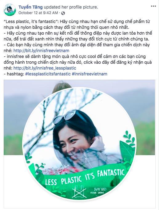 """Facebook tràn ngập sắc xanh với thông điệp """"Less Plastic It's Fantastic"""" - vì môi trường đầy ý nghĩa của sao Việt"""