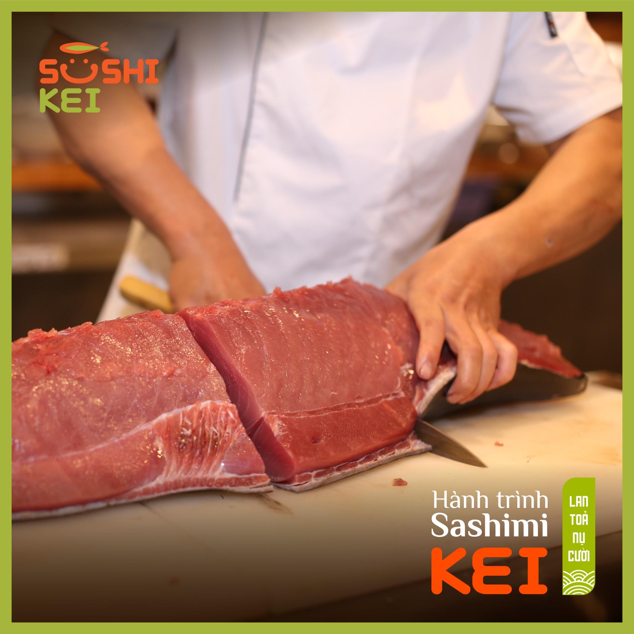 Kinh ngạc với cá ngừ khổng lồ 80kg cùng màn trình diễn chế biến chuyên nghiệp ngay tại nhà hàng Nhật - Sushi Kei - Ảnh 3.