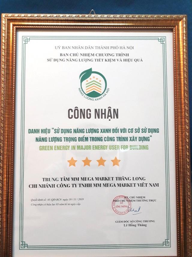 Siêu thị MM Mega Market Thăng Long đạt danh hiệu Năng lượng xanh nhờ áp dụng giải pháp quản lý năng lượng sạch - Ảnh 1.