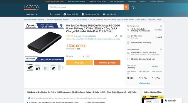 Săn sale pin dự phòng Aukey PB-XD26, sạc được Macbook, hỗ trợ QC 3.0 và Power Delivery, giá dưới 2 triệu - Ảnh 1.