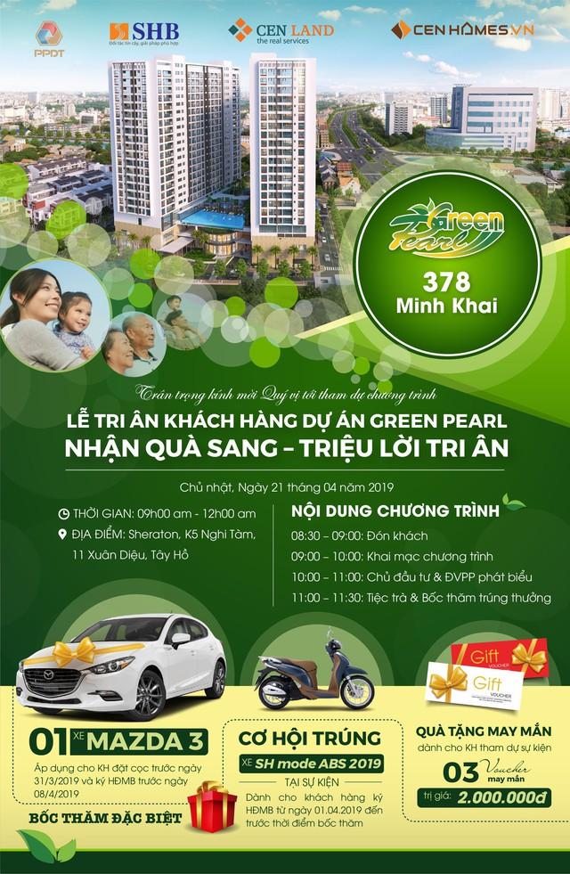 """""""Nhận quà sang – triệu lời tri ân"""" dành tới khách hàng dự án Green Pearl 378 Minh Khai - Ảnh 1."""