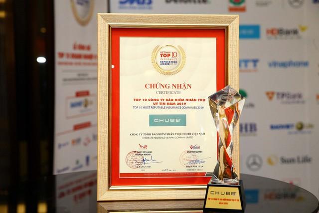 """Chubb Life Việt Nam được vinh danh """"Top 10 doanh nghiệp bảo hiểm nhân thọ uy tín năm 2019"""" - Ảnh 2."""