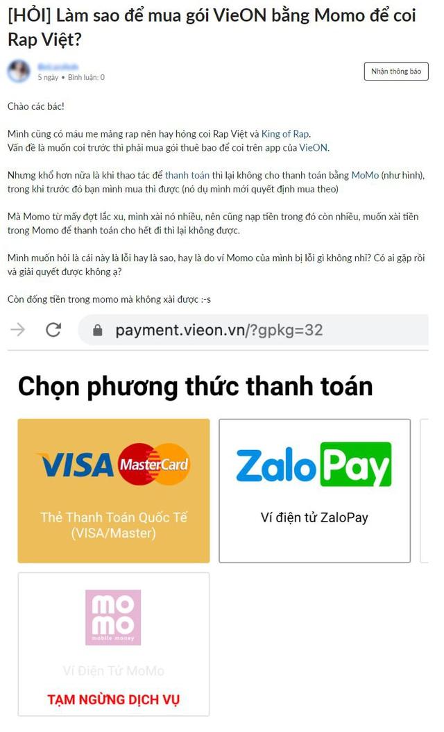 Ví điện tử ngừng liên kết, khán giả VieON gặp khó vì… muốn trả tiền - Ảnh 2.