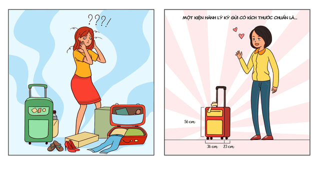 Để không bị vướng víu thủ tục khi check-in, bạn nên tránh mắc phải những sai lầm khi sắp xếp hành lý, chẳng hạn nếu đã có 1 kiện nặng 7kg thì việc mang thêm bất cứ túi xách nhỏ nào khác đi kèm cũng là không hợp lệ.
