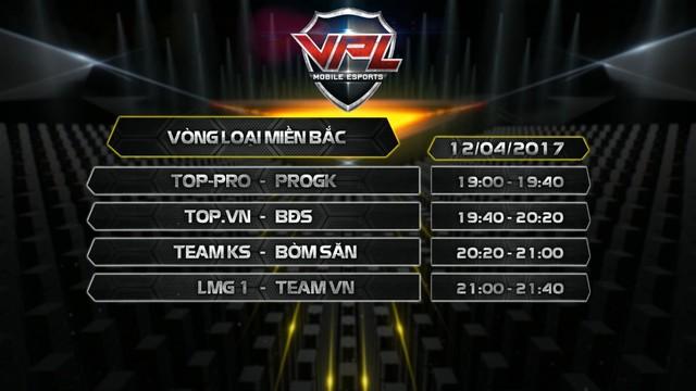 Lịch thi đấu lượt trận cuối cùng Vòng loại Miền Bắc VPL Tập Kích 2017