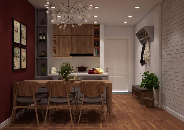 Không gian bếp đơn giản, mang sự ấm áp, quây quần