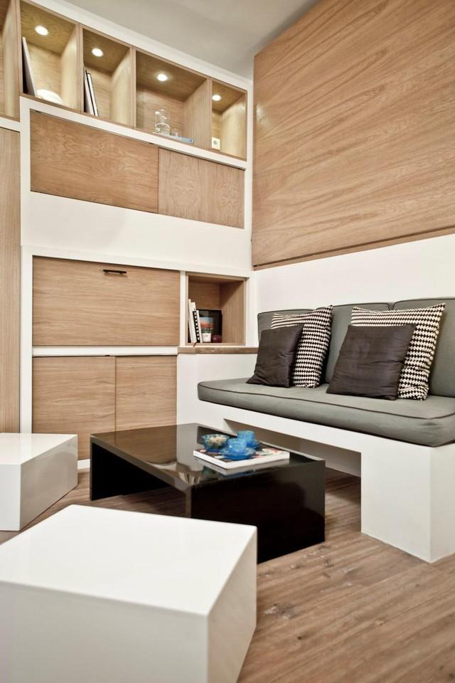 Hệ tủ đứng âm tường giúp tiết kiệm diện tích bề mặt, không gian trông sẽ sạch và rộng hơn