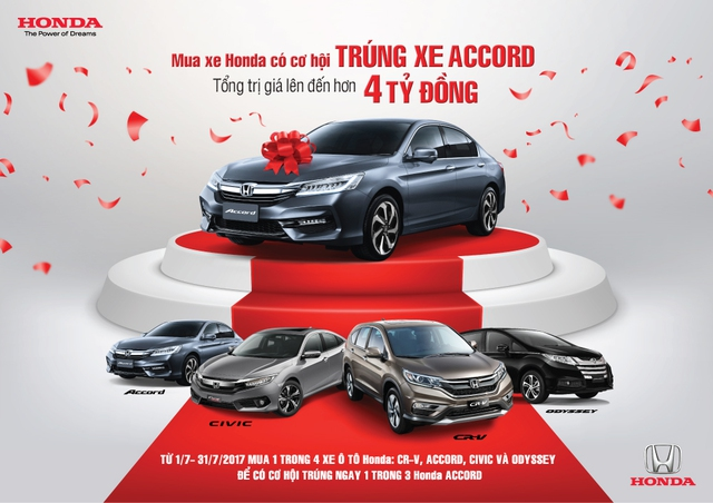 Mua xe hơi Honda trong tháng 7, có cơ hội trúng xe Accord trị giá 1,39 tỷ đồng - Ảnh 1.